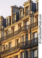 Traditional Facade in Paris at Sunset