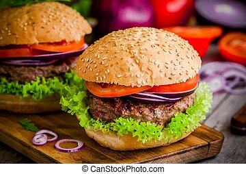 homemade burgers with fresh organic vegetables - homemade...