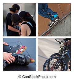 Skaters - Collage of skaters, rollers and bikes in a skate...