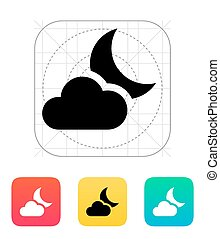 Partly cloudy night icon Vector illustration