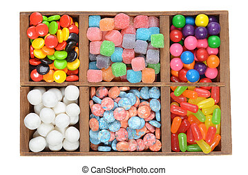 wood box assorted candies - isolated wood box assorted...