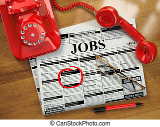Looking for a job. Jobs vacancies. Newspaper with...
