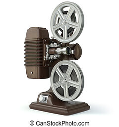 Vintage film movie projector isolated on white 3d