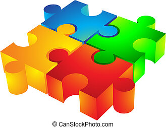 Jigsaw: 3d icon - Jigsaw puzzle: 3d icon isolated on white