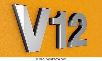 V12, 印, ラベル, バッジ, emblem.,