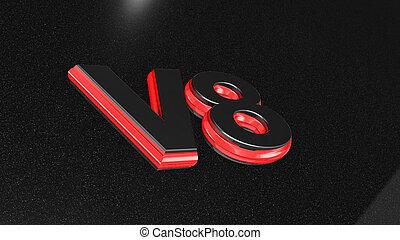 V8 sign, label, badge, emblem - V8 sign, label, badge,...