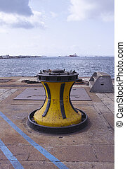 winch - photo of a winch in a harbour