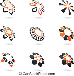 distorted abstract icons and design elements