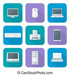 colored computer gadgets icons flat - vector flat design...