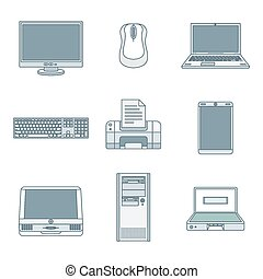 colored outline computer gadgets icons - vector colored...