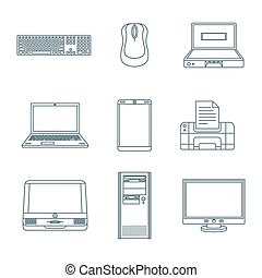 dark outline computer gadgets icons - vector dark grey...