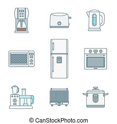 colored outline various kitchen devices set