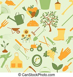 Gardening background. Seamless Pattern. Vector illustration