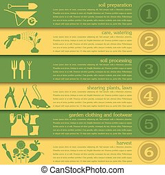 Garden work infographic elements. Working tools set. Vector...