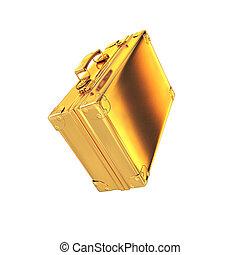 hermoso, dorado, maletín, empresa / negocio, Plano de fondo,...
