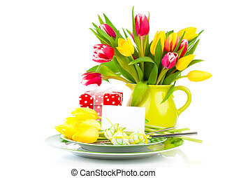 Easter place setting with tulip flower on white background