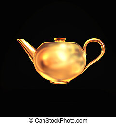 Golden teapot isolated on black  background