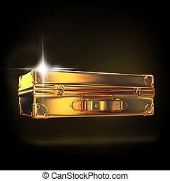 hermoso, dorado, maletín, empresa / negocio, negro, Plano de...