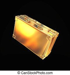 hermoso, dorado, maletín, Representar, empresa /...