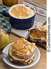 Bread, Pudín, con, manzanas, checo, o, Alemán, estilo,...