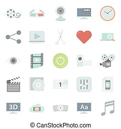 Video flat icons set vector graphic illustration design