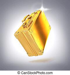 hermoso, dorado, maletín, empresa / negocio, gris, Plano de...