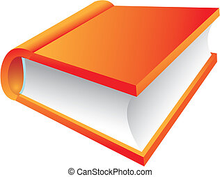 Orange Book 3d icon isolated on white, vector illustration