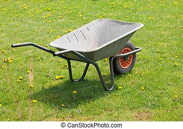 garden-wheelbarrow, ligado, verde, capim,