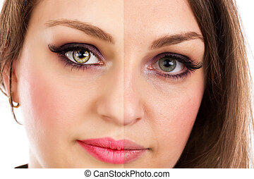 Face of beautiful woman before and after retouch