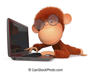 the red monkey with the laptop - intellectual development of...