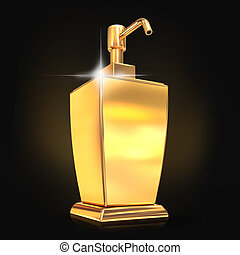 Golden soap or cream dispenser on black background