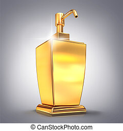 Golden soap or cream dispenser on gray  background