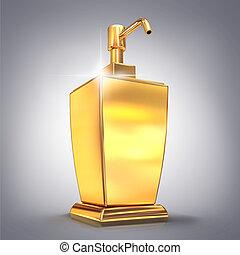 Golden soap or cream dispenser on gray  background
