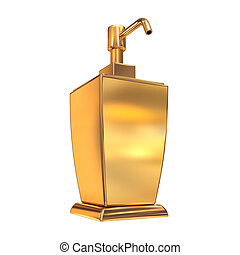 Golden soap or cream dispenser on white  background