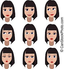 Set of variation of emotions of the same girl She is...