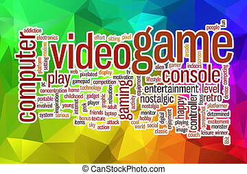 Video game word cloud with abstract background