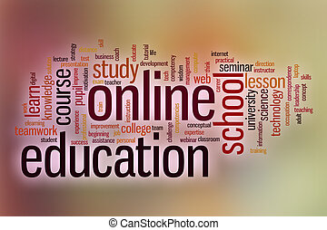Online education word cloud with abstract background