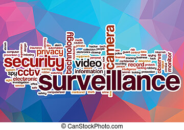 Surveillance word cloud with abstract background -...