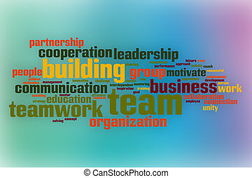 Team building word cloud with abstract background