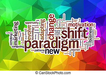 Paradigm shift word cloud with abstract background -...