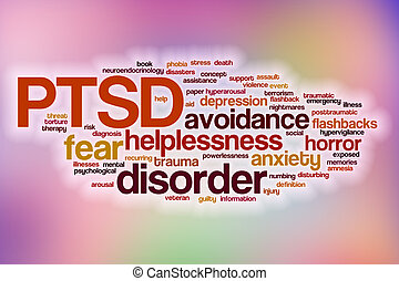 PTSD word cloud with abstract background - PTSD word cloud...