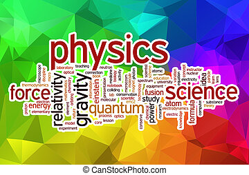 Physics word cloud with abstract background