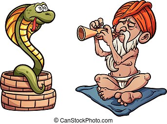 Snake charmer - Cartoon snake charmer Vector clip art...