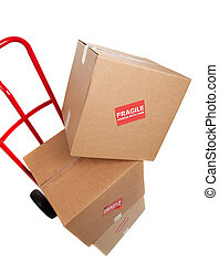 Brown cardboard moving box on white with a fragile sticker -...