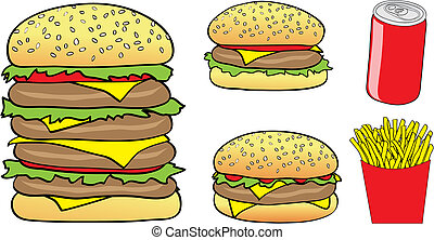 fast food cartoon - Vector Illustration of Cartoon Burgers,...