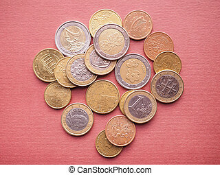 Euro coins currency of the European Union EUR