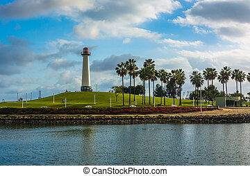 View of Long Beach Harbor Lighthouse, in Long Beach,...