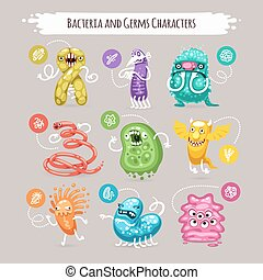Bacteria and Germs Characters Set for Medical Design....
