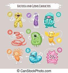 bacterias, y, microbios, caracteres, Conjunto,