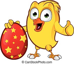 Easter Chick Character - A cartoon illustration of a cartoon...